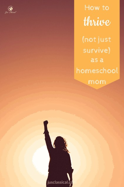Silhouette of woman raising her hand in victory against sunset as she has learned How to Thrive, Not Just Survive, as a Homeschool Mom