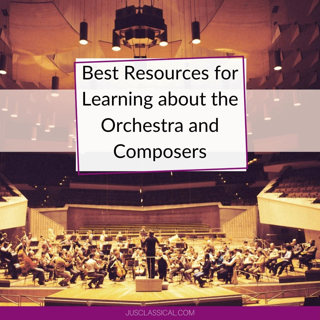 Picture of orchestra performing in a concert hall to show best resources for learning about the orchestra and composers.