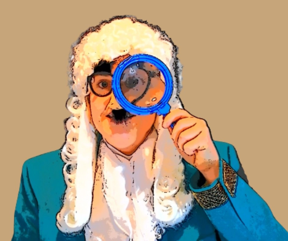 George Frideric Handel holding magnifying glass as The Composer Detective