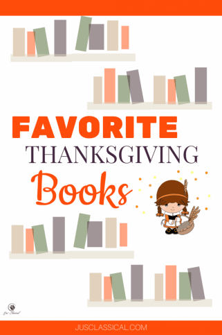 picture of books and Pilgrim girl with title Favorite Thanksgiving Books
