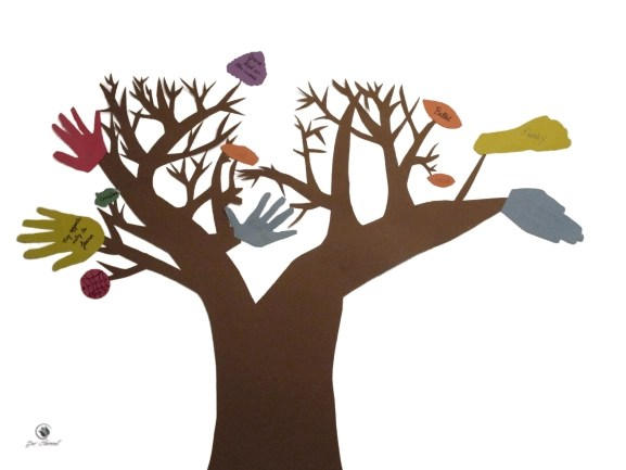 Thanksgiving crafts: image of a Thanksgiving Tree consisting of a trunk and leaves made of construction paper taped to a wall