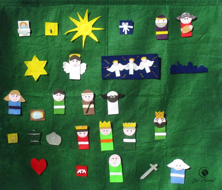 Image of an Advent calendar made of a green felt background with felt cartoon figures which represent parts of the Christmas story of Christ's birth.
