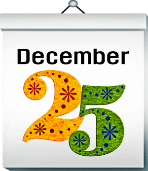 Sign with word December and a yellow 2 and green 5 for December 25