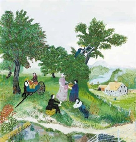 Painting of three apple trees in the back with a man leaning on a wagon in which a woman is sitting with two bushels of apples. Next to the wagon to the right are gathered four people, and one person is on a ladder by a tree picking apples. This is a painting called Apple Pickers by Grandma Moses.