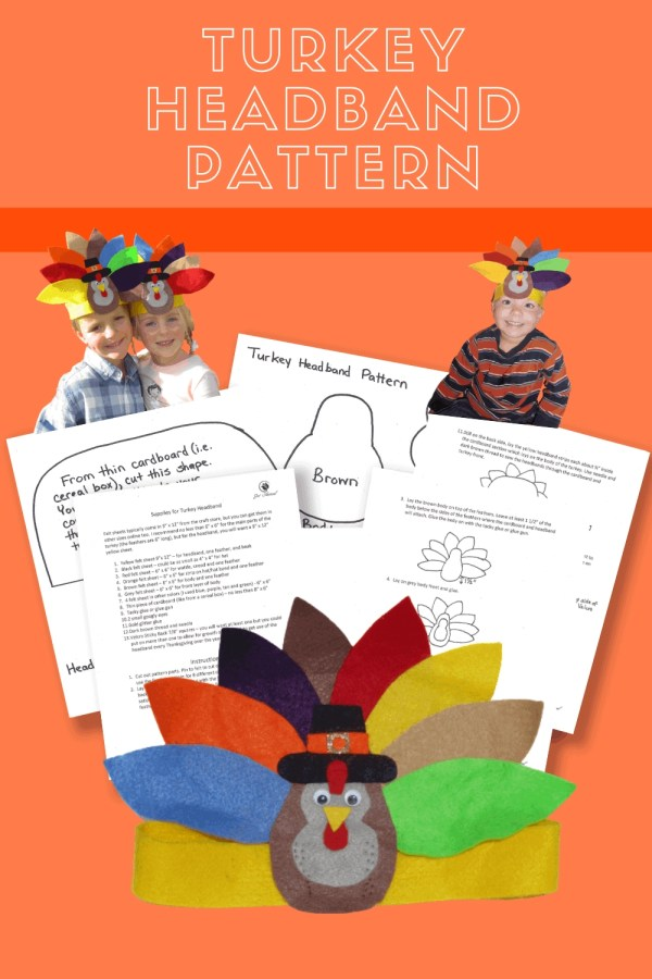 Image of turkey headband, pattern pages, a girl and boy both wearing the turkey headband, and a boy by himself wearing a turkey headband with the words Turkey Headband Pattern.