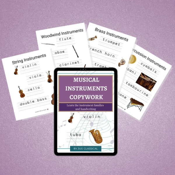 Image of tablet with a purple rectangle at the top and white words that say Musical Instruments Copywork. Below it are the images of a violin and a handwriting line with the word violin on it and the image of a tuba and a handwriting line with the word tuba on it with pages fanned behind.