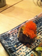 Fried Asparagus Sushi topped with Tobiko