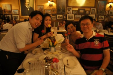 Wobbly photo of us and Edible Arrangements Fruit Bouquet; Amaroni's Little Italy