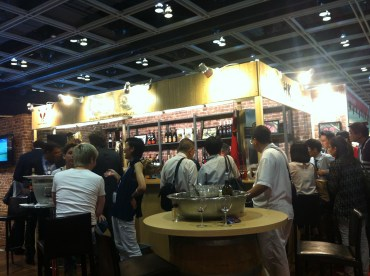 Open bar area with food served; Rest&Bar Expo