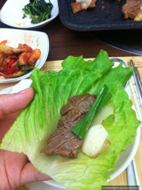 Cabbage-wrapped Marinated Beef Short Ribs where you don't get a refill of vegetables