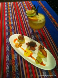 Causa: Aji de Gallina, Squid, Black Cod with Pisco Punch; Chicha