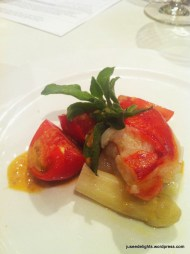 King Crab and Organic Fruit Tomato from Japan, with Asparagus from France; GOLD by Harlan Goldstein