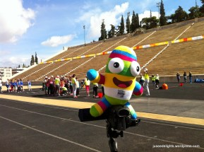 Nanjing 2014 Youth Olympic Games mascot NanjingLeLe at Panathenaic Stadium