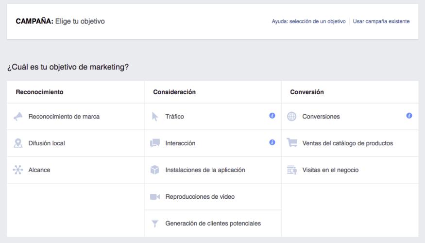 Objetivos en Facebook Ads