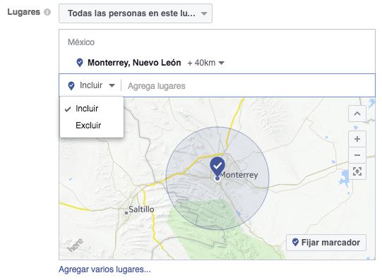Incluir o excluir lugares en la segmentación de Facebook Ads