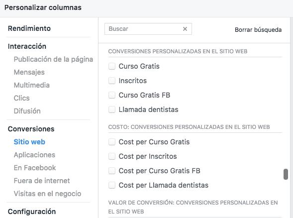Columnas conversiones sitio web