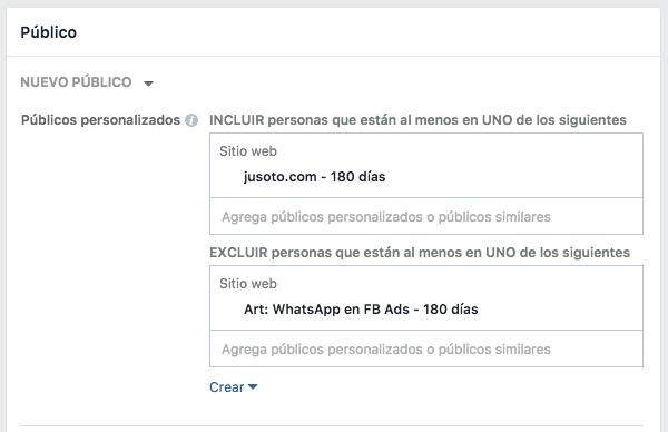 Ejemplo de segmentación en Facebook Ads