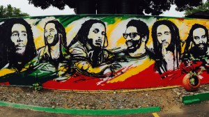 Wandgemälde im Bob Marley Haus in Kingston