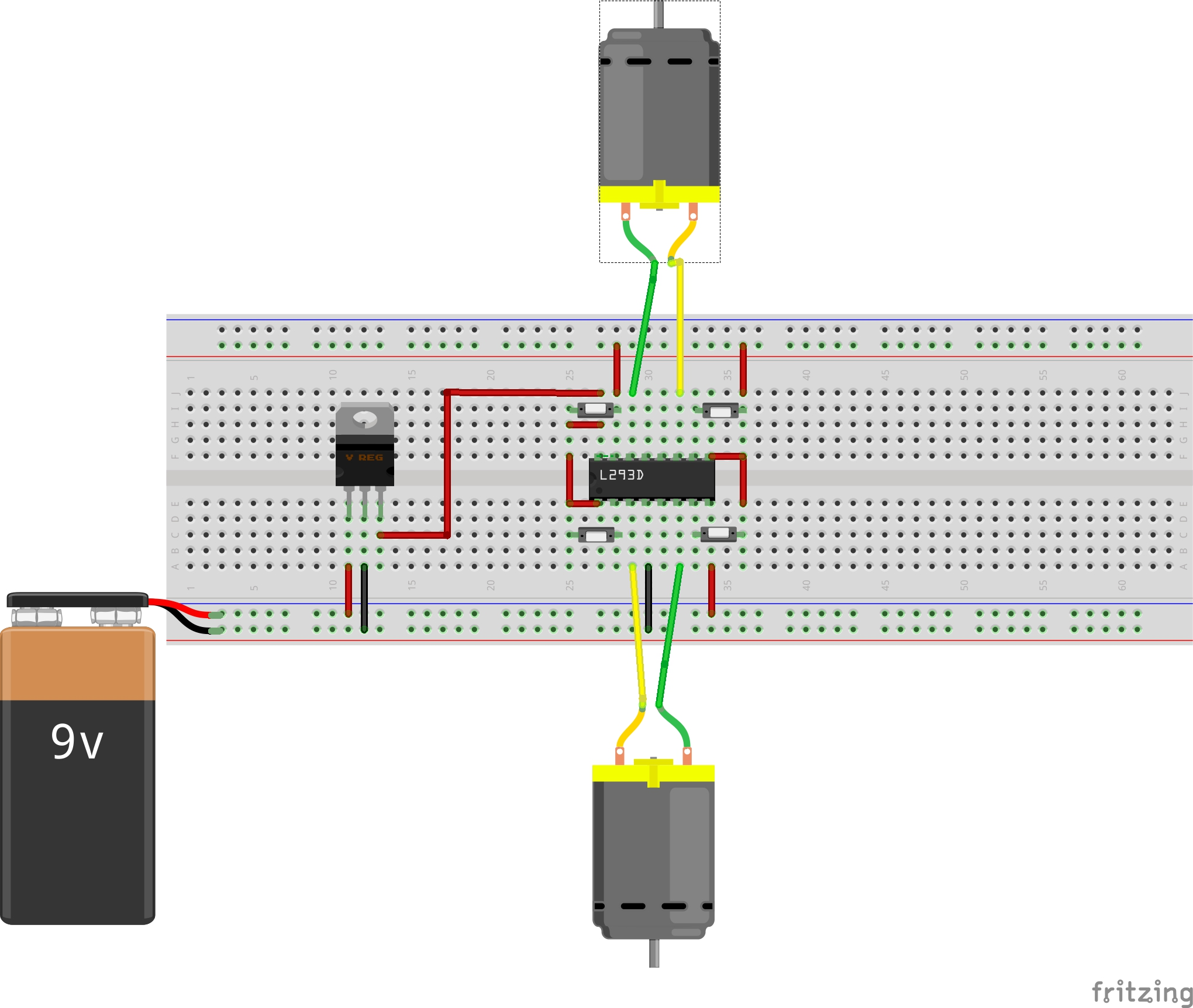 Schematic For Interfacing A Dc Motor Using L293d Is Shown Below
