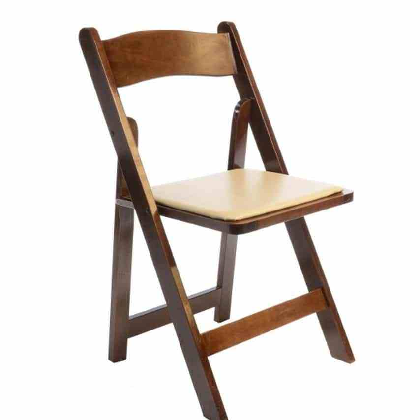 Rent Fruitwood Folding Chairs wIvory Padded Seat