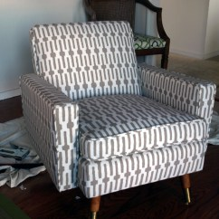 How Much Fabric Do I Need To Recover A Sofa Brown Room Designs Reupholster Mid Century Chair Just About Home