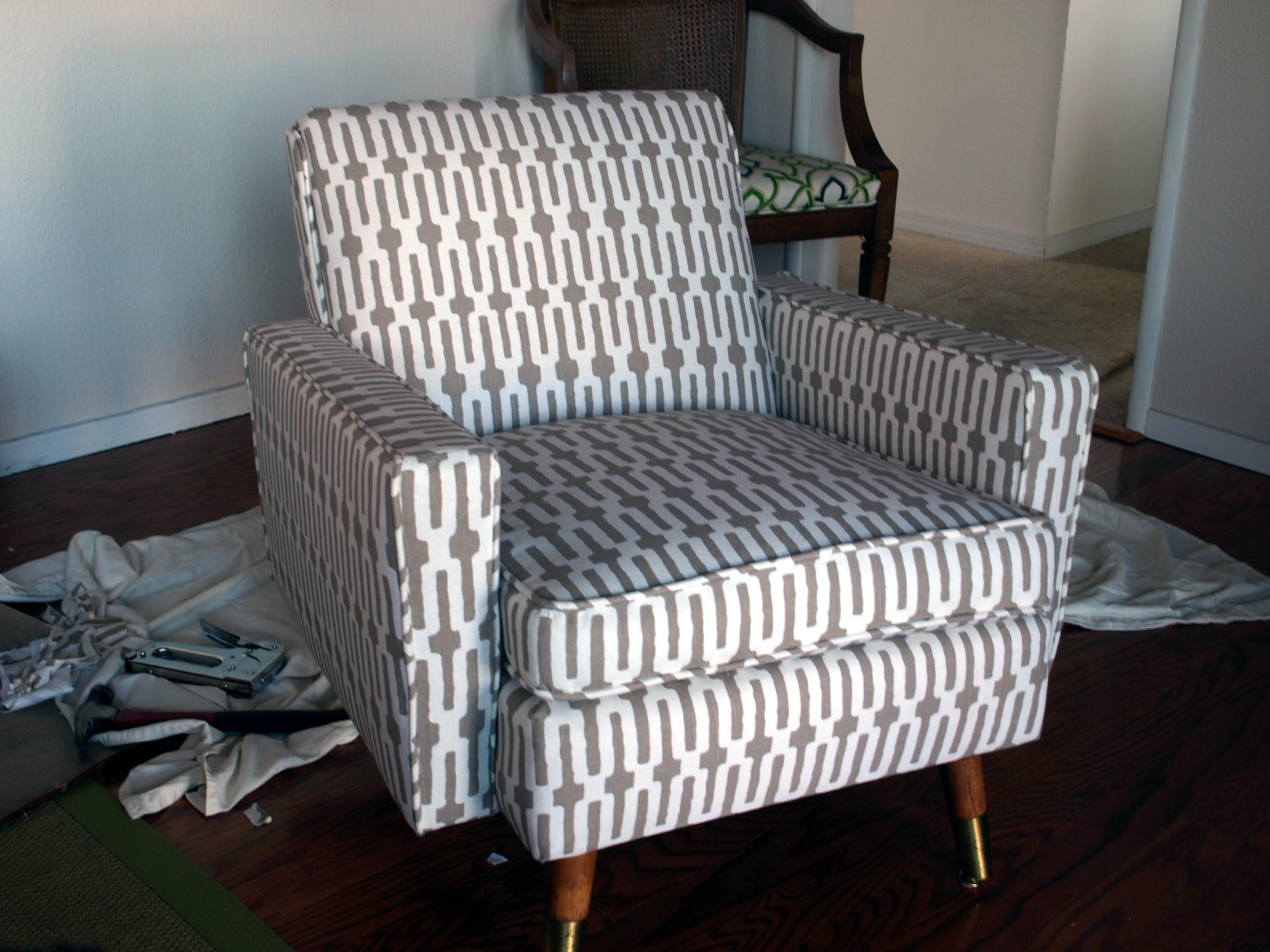 Pattern Chair How To Reupholster A Mid Century Chair Just About Home