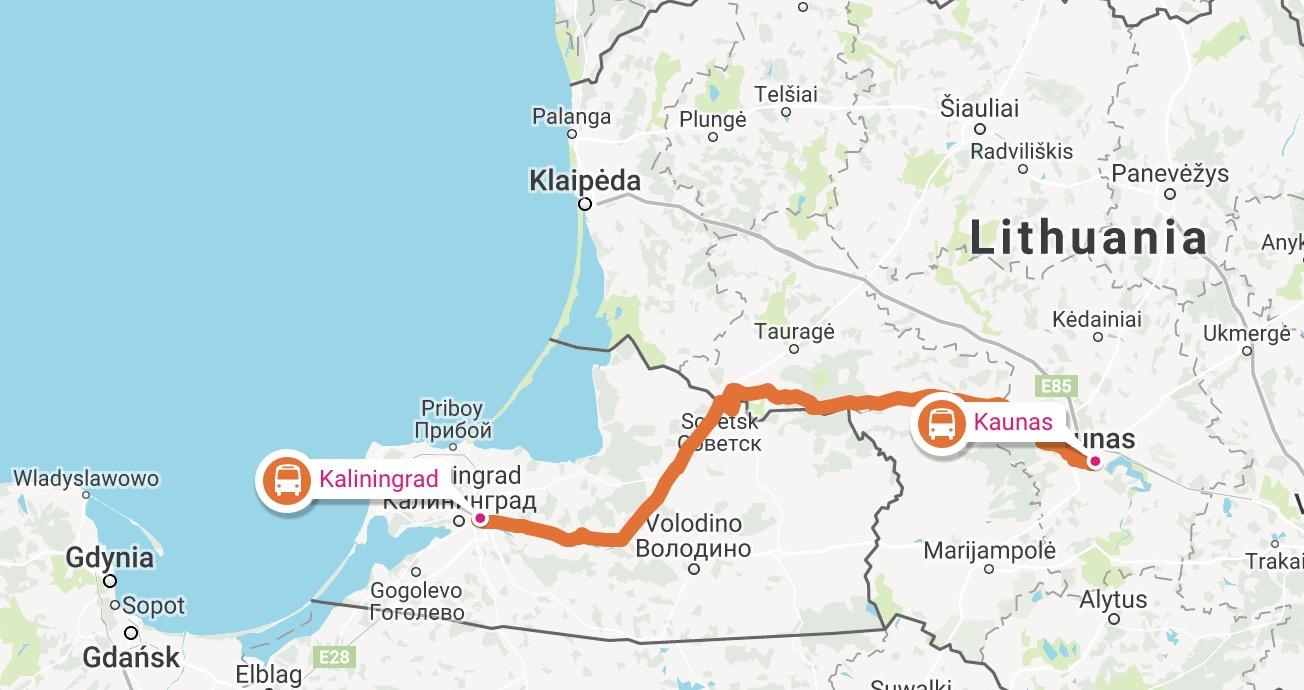 Kaliningrad Map Euroroute R Euroroute R Tripcalculator Poland - Kaunas map
