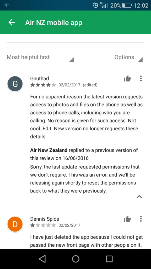 air nz update mistake admission