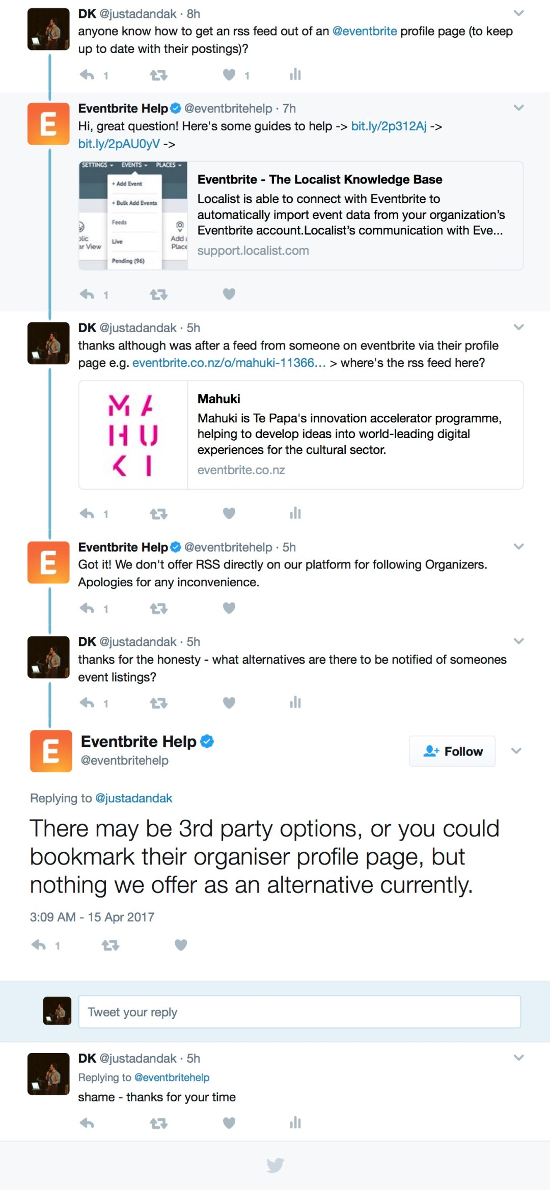 Eventbrite Twitter Discussion