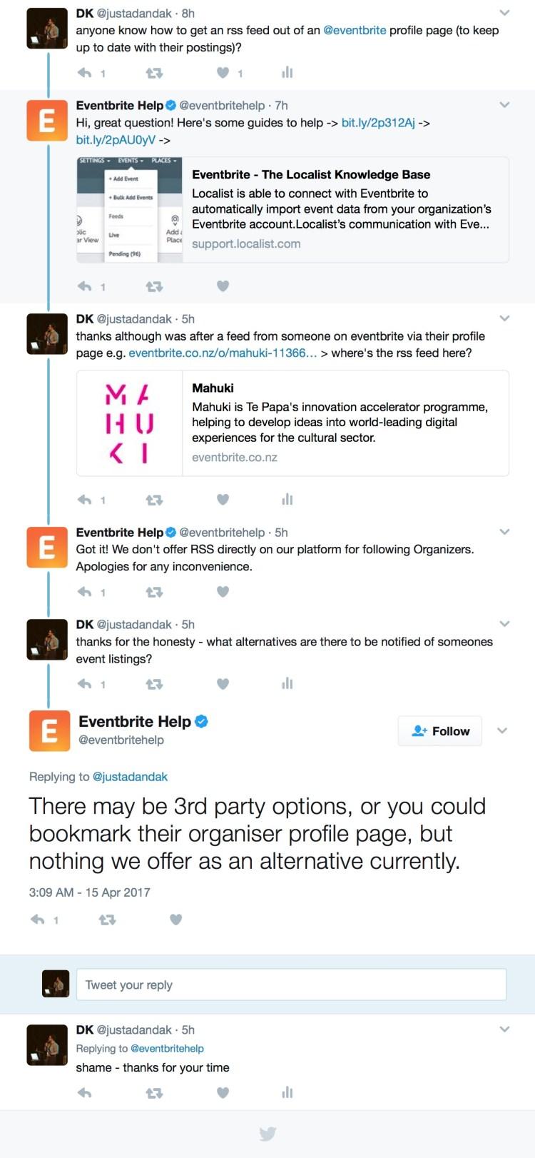 Eventbrite Twitter Discussion