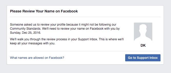 Facebook Name Review