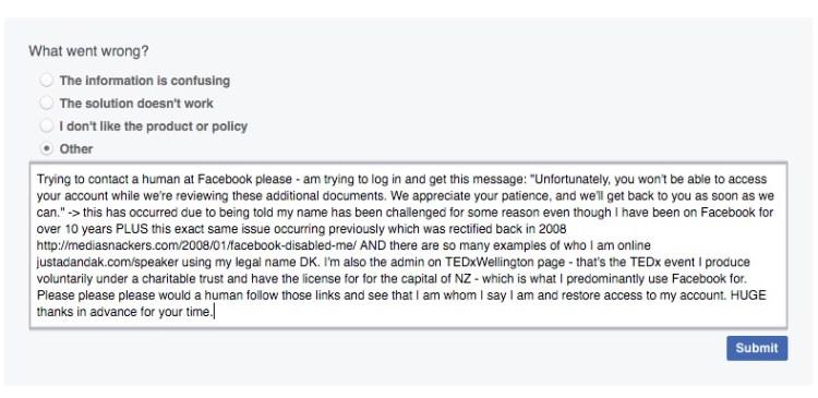 facebook reinstatement request