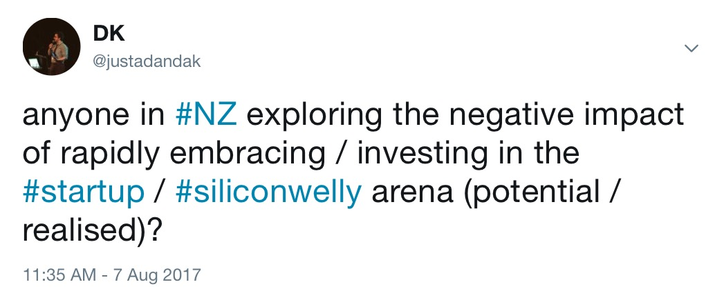 twitter question about negative impact of investing in a startup culture