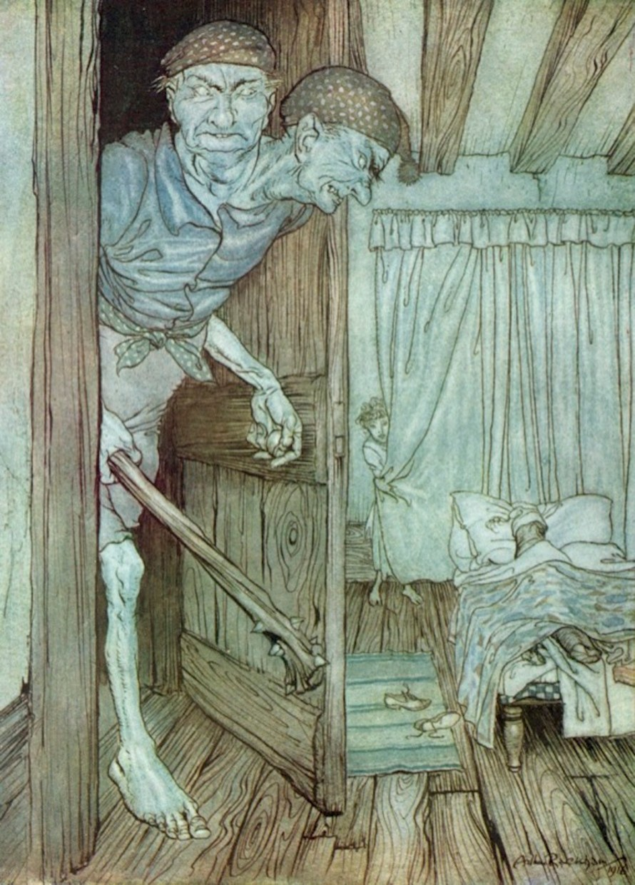 At the dead of the night in came the Welsh Giant (1916), Arthur Rackham (English, 1867-1939)