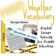 free weather vocabulary escape activity