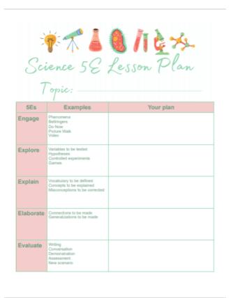 5e science lesson plans