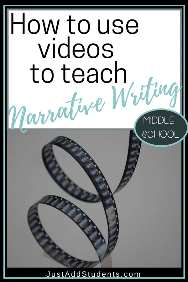 Engage middle school students in narrative writing by using short videos.  Click through to learn how to effectively use commercial, pixar shorts, and TV shows to get your students thinking about narrative elements.