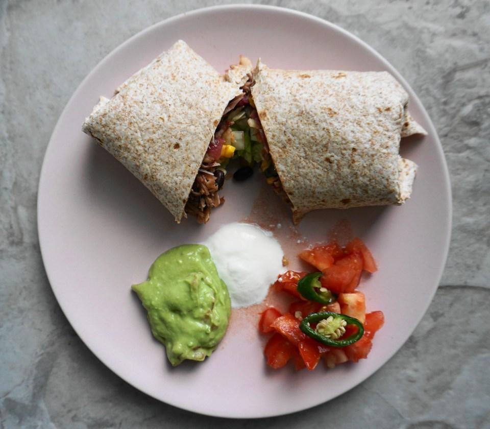 Jackfruit burrito plate 1