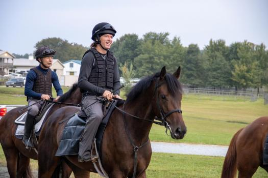 Carl Doran is in charge of racehorse training for Justa Farm. He is shown here riding Carlet's Bay.
