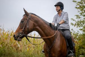 Euro Power, who is available for a racehorse breeding partnership, is seen here being ridden by trainer Ann Betsch.