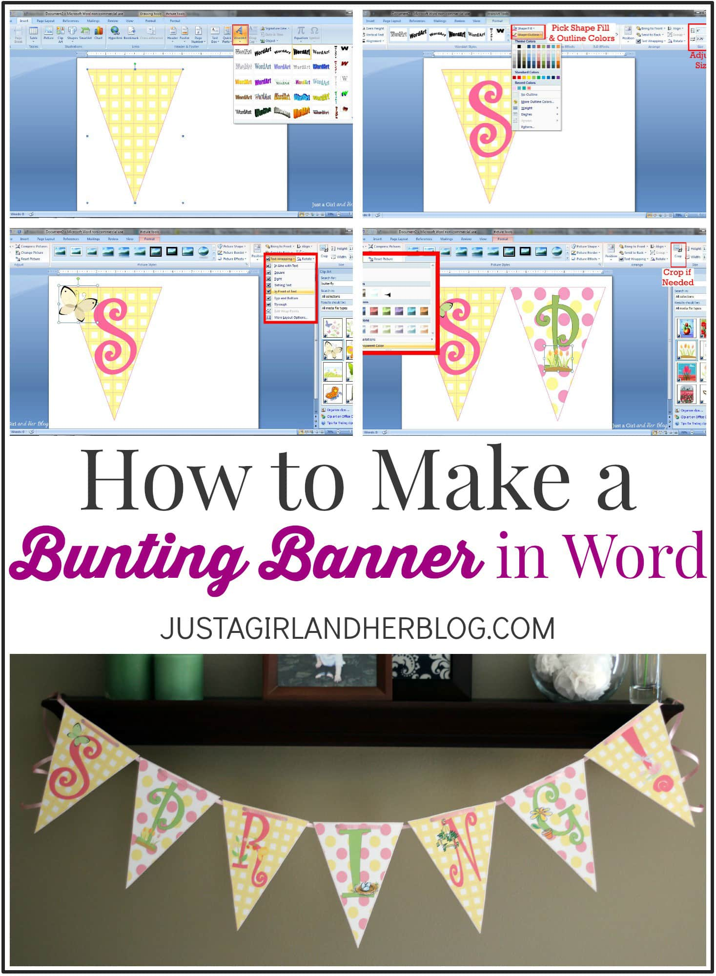 Cara Membuat Overline Di Word : membuat, overline, Bunting, Banner, {with, Tricks}