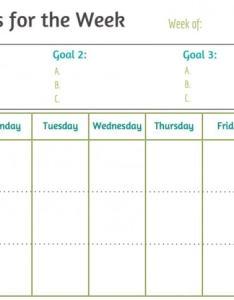 Weekly goal sheet also canre klonec rh