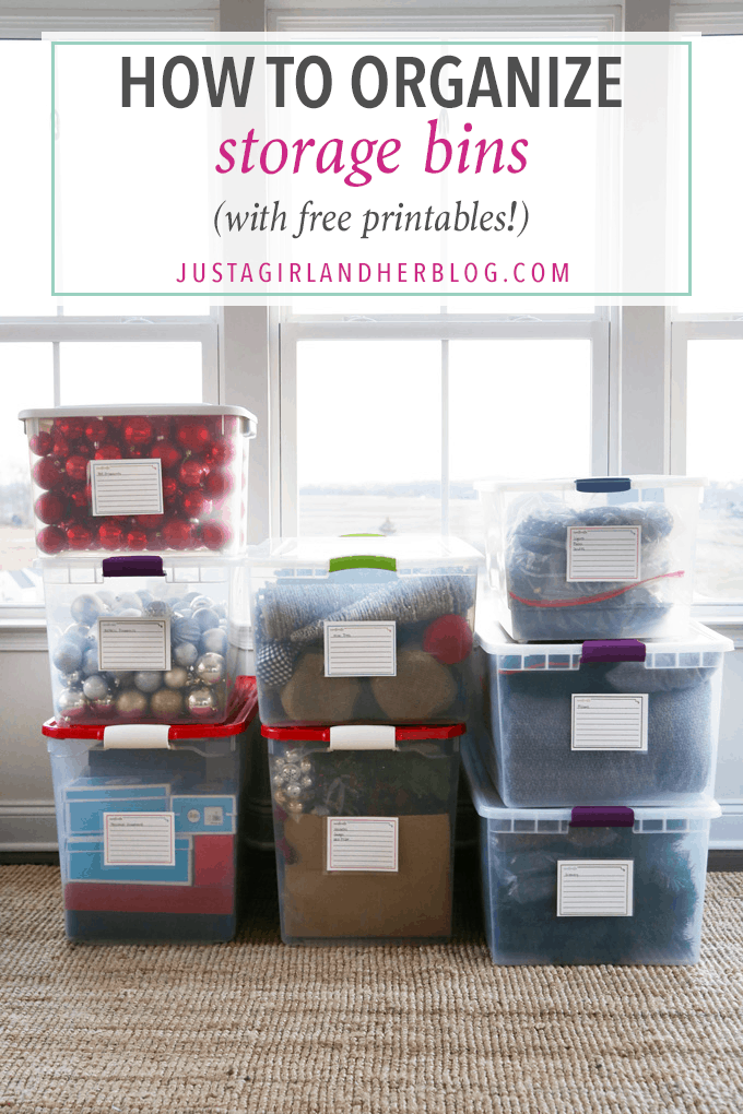 How to Organize Storage Bins with FREE Printables  Just a Girl and Her Blog