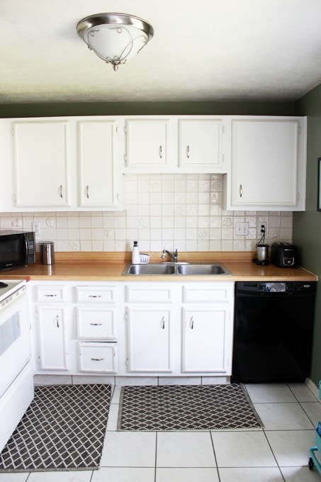 kitchen cabinet crown molding stainless steel how to add cabinets just a girl and her blog install justagirlandherblog com