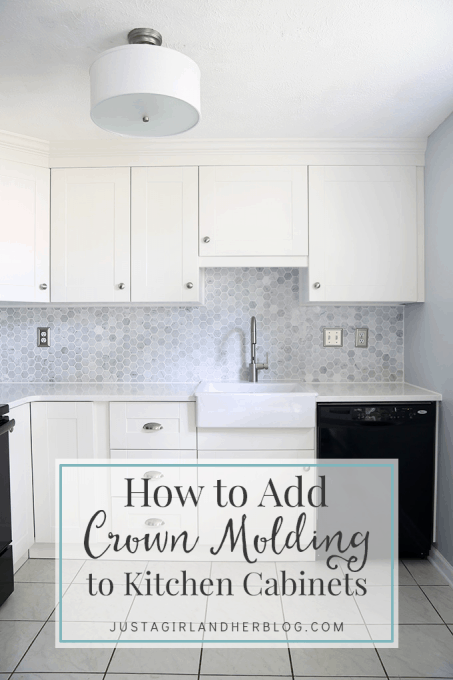 Adding crown molding to old kitchen cabinets for Add crown molding to existing kitchen cabinets