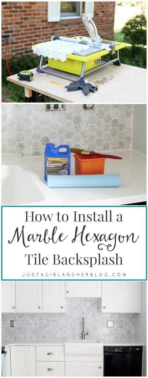 marble hexagon tile backsplash