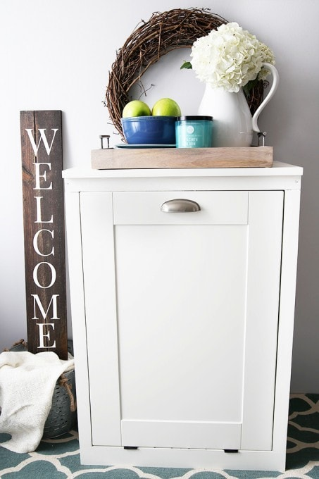 trash can kitchen cabinet how to fix up old cabinets build a custom tilt-out - just girl ...