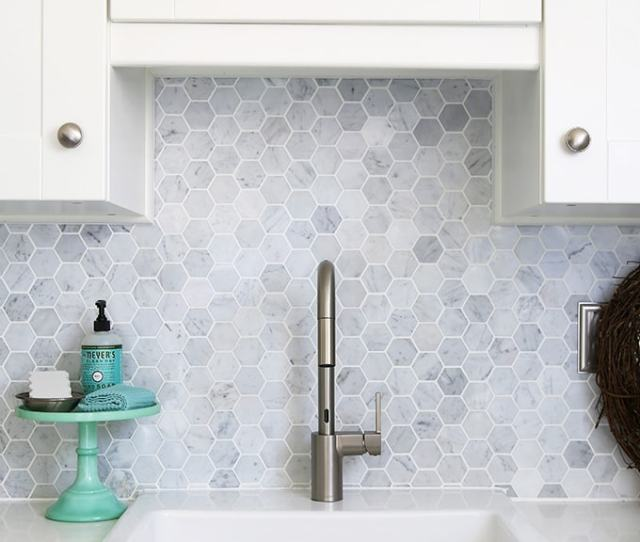Farmhouse Sink Moen Align Faucet Carra Marble Backsplash Beautiful White Ikea Sektion Grimslov Kitchen With Aqua And Green Accents A Gorgeous Marble