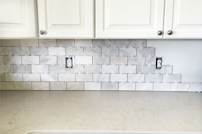 subway tiles in kitchen cabinet doors with glass fronts how to install a marble tile backsplash just girl and her diy tiling tips