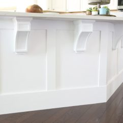 Kitchen Trim White Chandelier How To Add Custom A Island Just Girl And Her Blog Diy Craftsman Wood Corbels Install